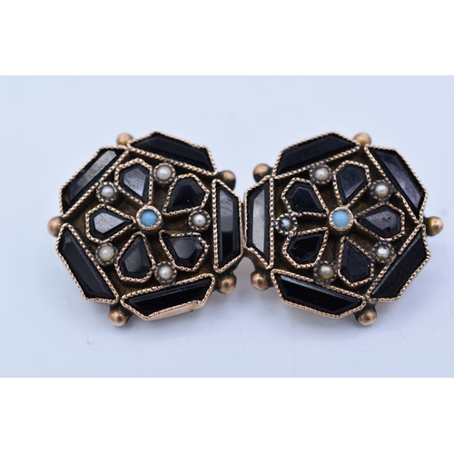 Vintage Floral Style Brooch with Black inlaid Stones Complete with Presentation Box