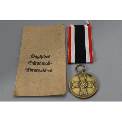 German WW2 War Merit Service Medal 1939 with Ribbon and Envelope