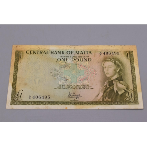 10 - Central Bank of Malta 1969 One Pound Bank Note...