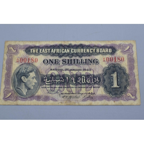 18 - The East African Currency Board 1943 George VI One Shilling Bank Note...