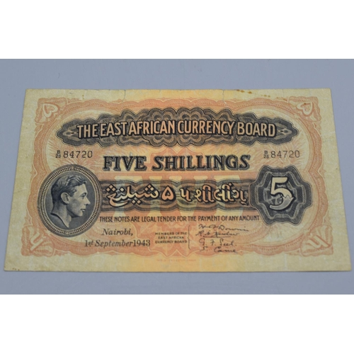 19 - The East African Currency Board 1943 George VI Five Shilling Bank Note...
