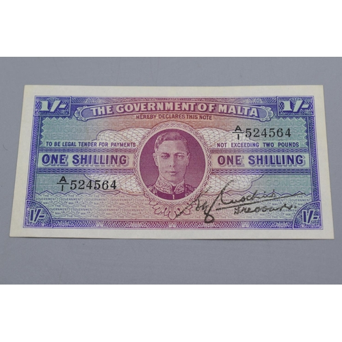 7 - The Government of Malta 1943 One Shilling Bank Note...