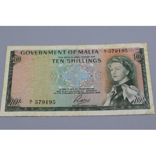9 - Government of Malta 1963 Ten Shilling Bank Note...