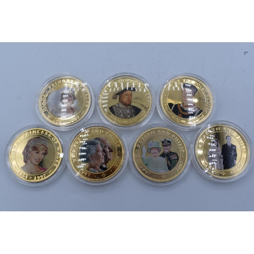 23 - Collection of 7 Elizabeth II Gold Plated Photographic $1 Dollar Coins Depicting Royal Personage...