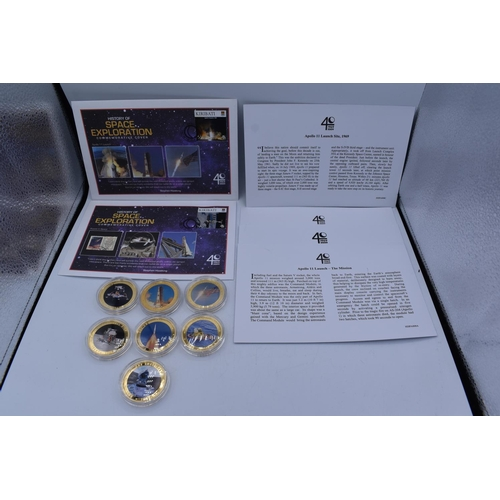 24 - Seven Elizabeth II Cook Islands 1 Dollar Coins Space Exploration Coins with some Certificates...