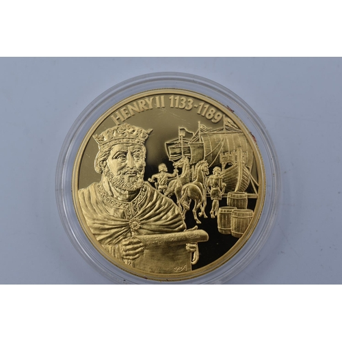 25 - Two Elizabeth II 2004 Gold Plated East Caribbean States Coins Celebrating Henry II and Robert The Br...