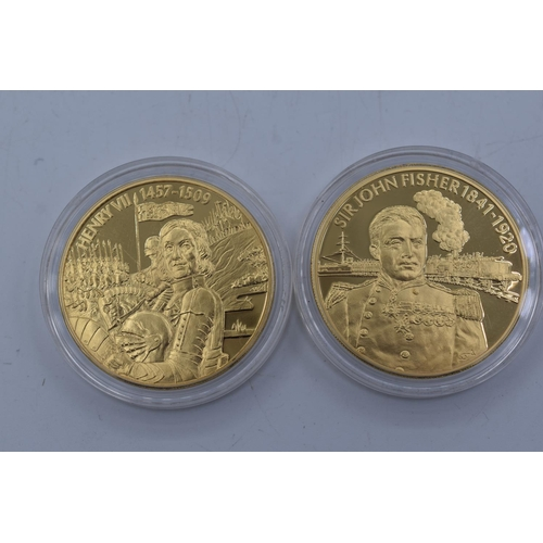 27 - Two Elizabeth II 2004 Gold Plated East Caribbean States Coins Celebrating Sir John Fisher and Henry ...