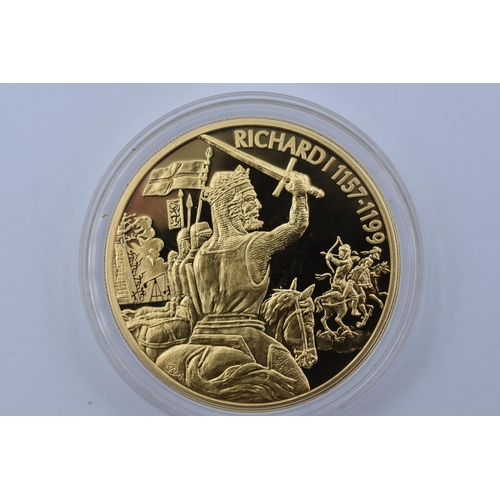29 - Three Elizabeth II Caribbean States Gold Plated $2 Coin Commemorating Richard I, Montgomery and Edwa...