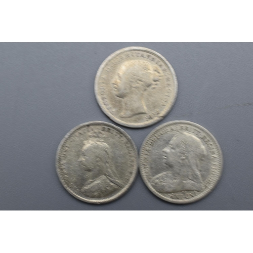 26 - Three Victorian Silver 3 Penny Coins (1872, 1889 and 1900)...
