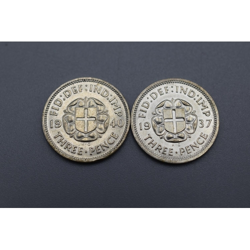 41 - Two George VI Silver 3 Pence Coins (1937, and 1940)...