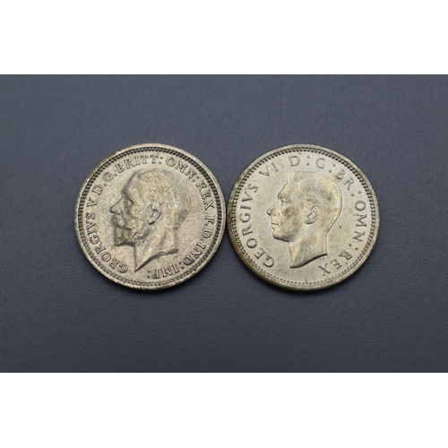 42 - Two almost uncirculated George VI Silver 3 Pence Coins (1935 and 1940)...