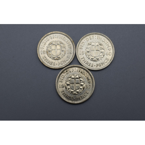 44 - Three George VI Silver 3 Pence Coins (1937, 1938 and 1940)...