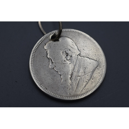 46 - Two Shilling Coin dated 1882 on Chain...
