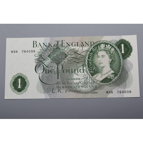 47 - Bank of England (L K O'Brian) One Pound Bank Note (M38 764039)...