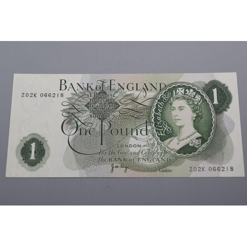 51 - Bank of England (Page) One Pound Bank Note (Z02K 066218)...