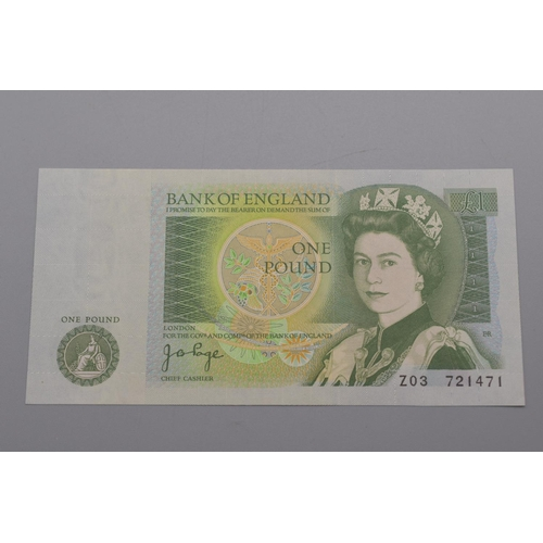 52 - Bank of England (Page) One Pound Bank Note (Z02 721471)...