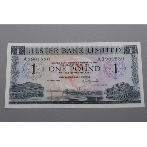 56 - Ulster Bank Limited 1973 One Pound Bank Note (A3901830)...