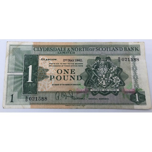 Clydesdale & North of Scotland Bank 1962 One Pound Note (BD021588)