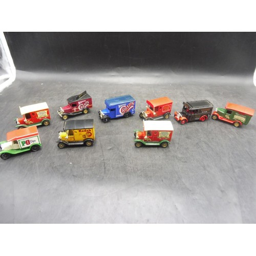 Selection of 9 Lledo Die-cast Delivery Vehicles including Royal Mail, Walkers Crisps and More