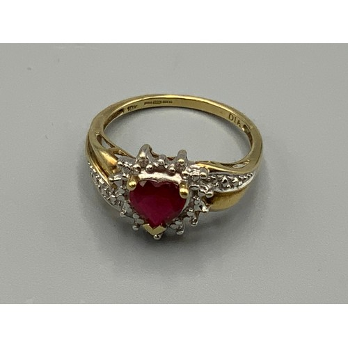 Hallmarked Birmingham 375 (9ct) Gold Diamond and Ruby Ring (Size M) complete with Presentation Box