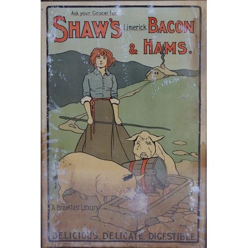 35 - SHAW'S LIMERICK BACON & HAMS ORIGINAL POSTER