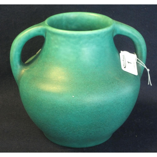 1 - Royal Lancastrian green ground pottery two handled baluster vase. Impressed marks, shape no. 8181. 1...