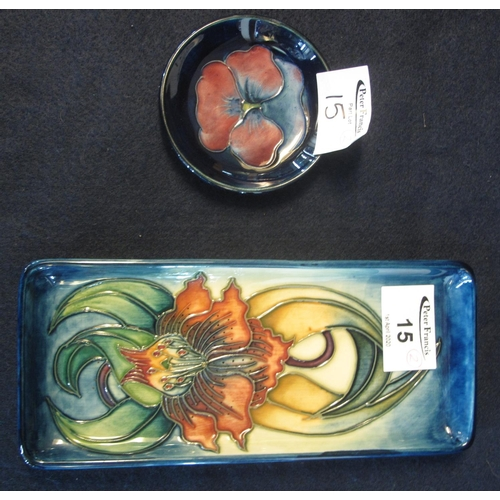 15 - Modern Moorcroft art pottery tube lined floral rectangular pin dish, together with a small circular ...