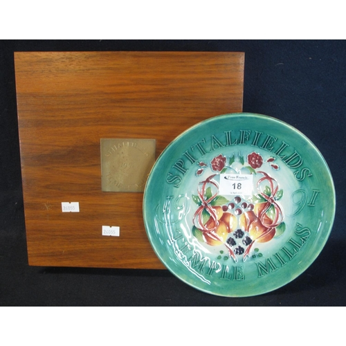 18 - Modern Moorcroft art pottery tube lined cabinet plate or charger in original wooden presentation box...