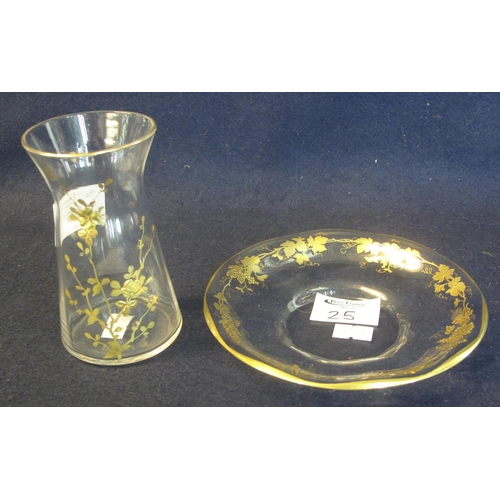 25 - Victorian gilt and clear glass carafe or tot on stand decorated with leaves and vines. (2) (B.P. 24%...