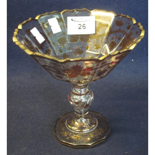 26 - Bohemian glass fruit dish or comport raised on a pedestal with fluted knop, all over decorated with ...
