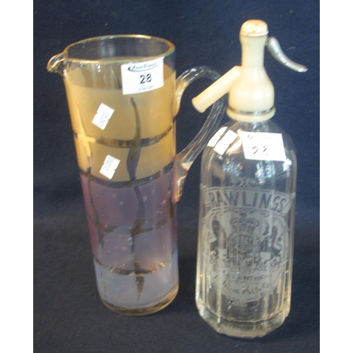 28 - Vintage Rawlings soda syphon, together with a straight sided single handled water jug. (2) (B.P. 24%...
