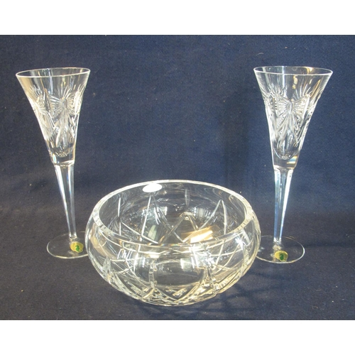 30 - The Millennium Collection Waterford toasting flutes, one pair in original box. Together with a Royal...