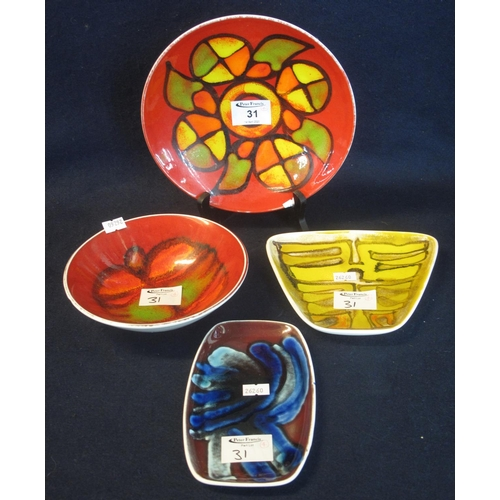 31 - Four Poole pottery items to include; bowl, cabinet plate and pin trays. (4) (B.P. 24% incl. VAT)...