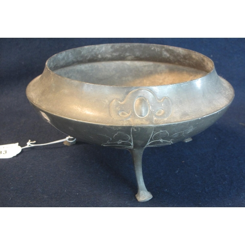 33 - Art Nouveau design pewter circular bowl on three legs with stylised foliate decoration. Base marked ...