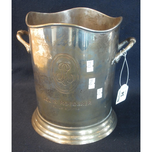 34 - Silver plated cylindrical two handled champagne bottle cooler marked 'Louis Roederer'. 23.5cm high a...