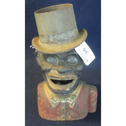 35 - Cast metal black man in top hat money box. Incomplete. (B.P. 24% incl. VAT)...
