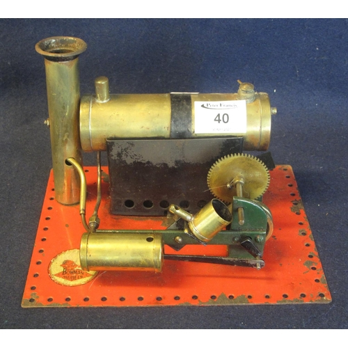 40 - A Bowman brass and tinplate live steam model stationary engine, together with another appearing earl...