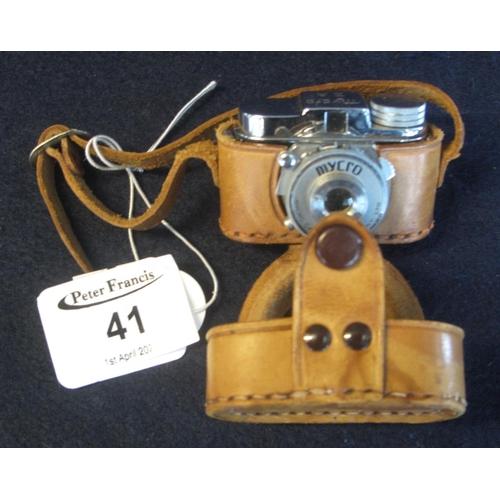 41 - A 'Mycro' miniature camera in leather Ever-ready case marked 'Mycro Camera Company Ltd', stamped Myc...