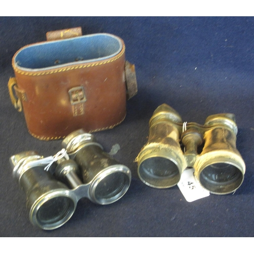 45 - Two pairs of opera/field glasses, one in leather case. (2) (B.P. 24% incl. VAT)...