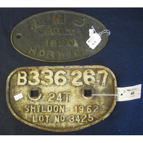46 - Two cast iron railway plaques, 'Good's vehicle number, Shildon 1962' and a 'LMS' brass date plaque '...