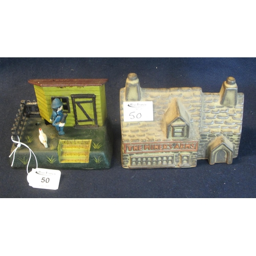 50 - A reproduction cast metal moneybox and a ceramic Miner's Arms stoneware  moneybox. (2) (B.P. 24% inc...