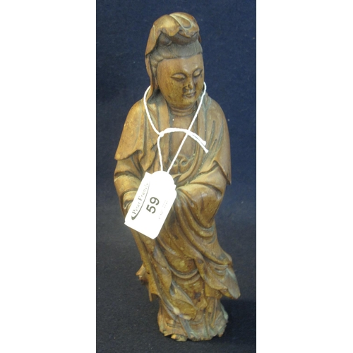 59 - Chinese carved wooden study of a robed Immortal. 25cm high approx.  (B.P. 24% incl. VAT)...