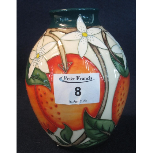 8 - Modern Moorcroft art pottery tube lined ovoid vase, overall decorated in the Mediterranean series wi...