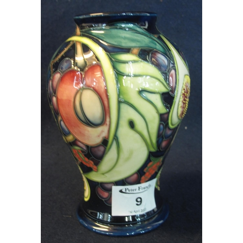 9 - Modern Moorcroft art pottery tube lined baluster vase, 'Queen's Choice' overall decorated with peach...