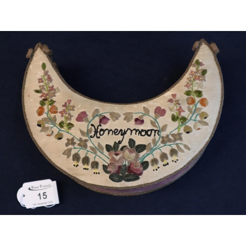 15 - Edwardian crescent moon shaped applique work velvet box embroidered with flowers and foliage and the...