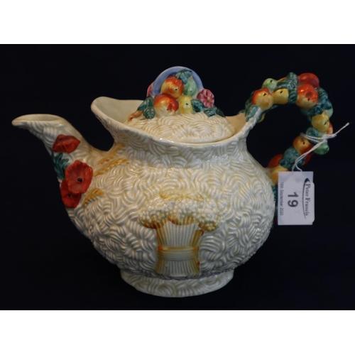 19 - Clarice Cliff Newport pottery 'Celtic Harvest' design teapot.  (B.P. 21% + VAT)...