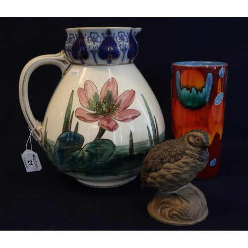 21 - Poole pottery cylindrical lava type vase, together with a Poole pottery study of a thrush probably b...