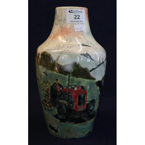 22 - Cobridge stoneware 'The Logging' pattern vase decorated with a rural scene of a tractor and animals ...