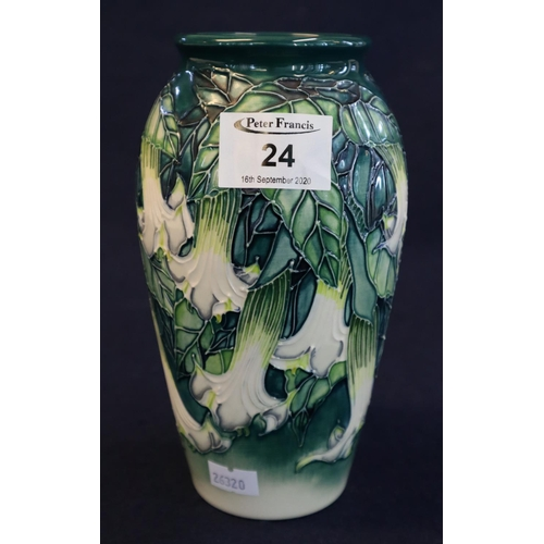24 - Moorcroft art pottery tube lined 'Angel's Trumpet' design vase by Anji Davenport 1998, no. 501. In o...