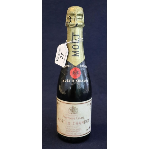 27 - Moet and Chandon Premiere Cuvee finest extra quality bottle of champagne. (small bottle) (B.P. 21% +...